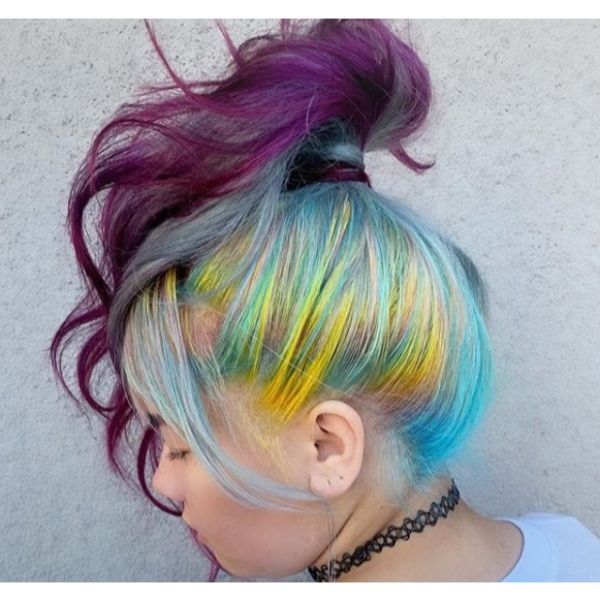 Rainbow Colored Ponytail Updo