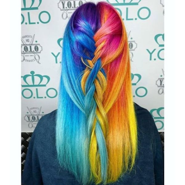 Rainbow Loose Half Braid for Medium Hair