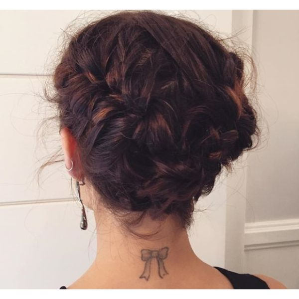 Romantic Braided Updo for Medium Bob Haircut