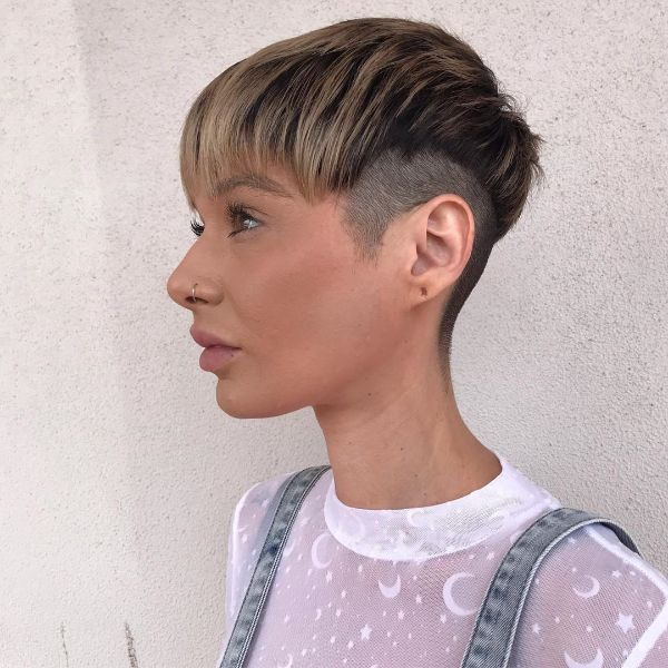 Short Crop With Undercut and Combed Forward Front