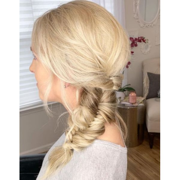 Side Fishtail Bridal Updo for Medium Blonde Hair