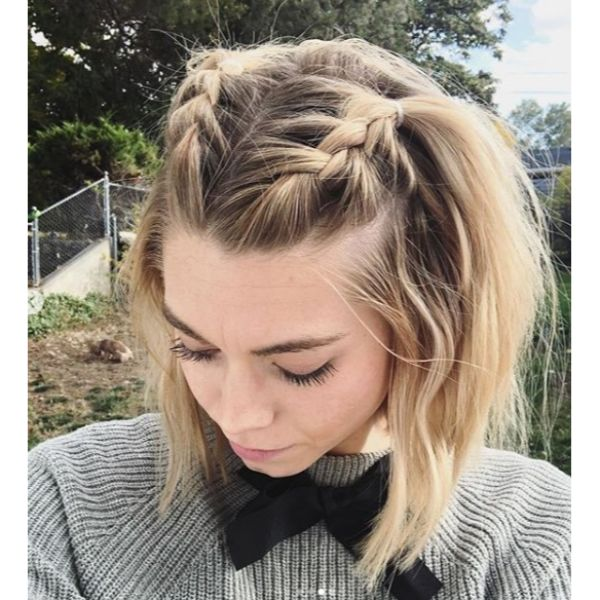 Side French Braids Top of Head Updo