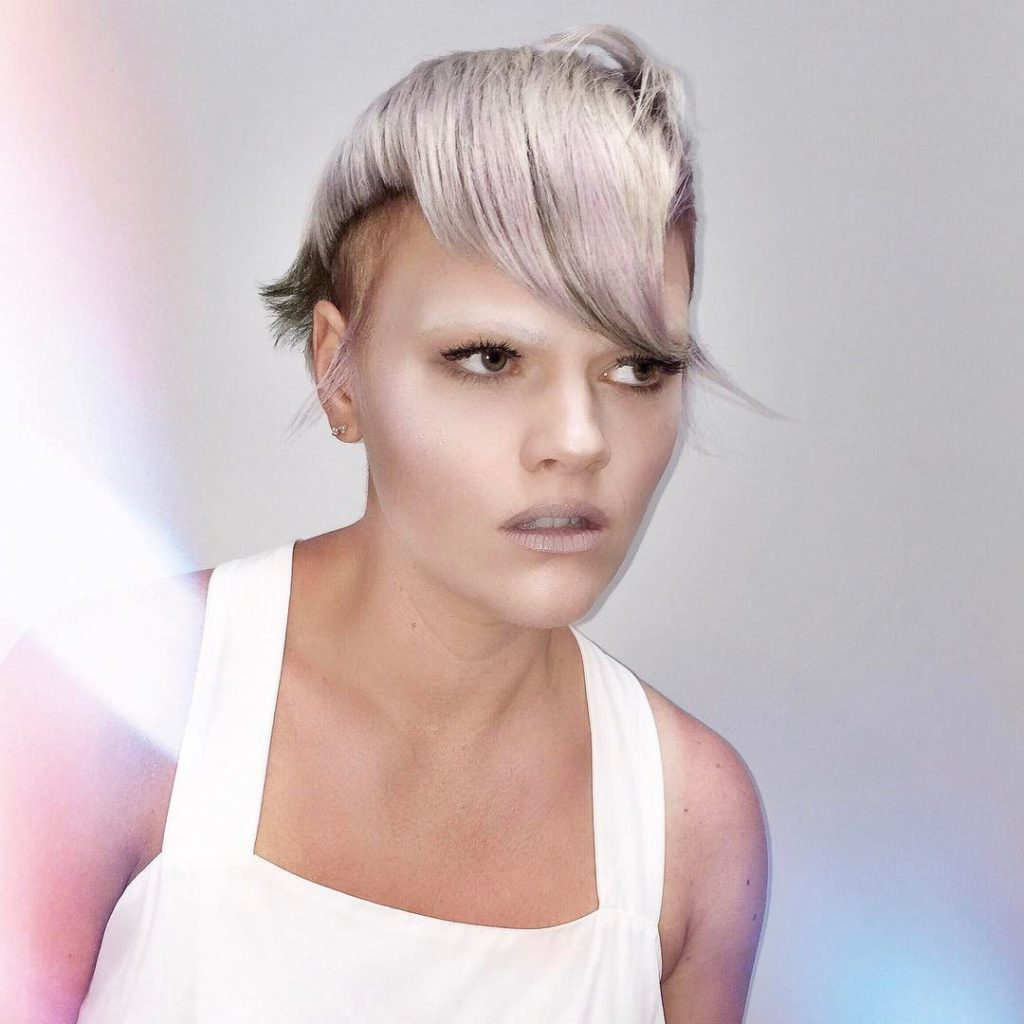 Side swept Asymmetric Nordic Ice Blonde Bangs