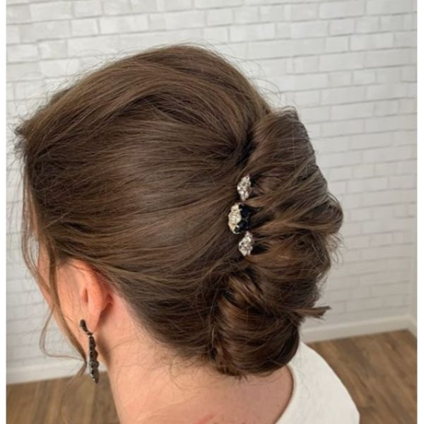Soft French Twist Bridal Updo for Medium Hair