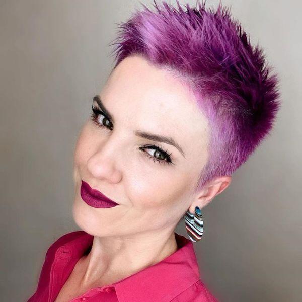 Spiky Purple Pixie Haircut