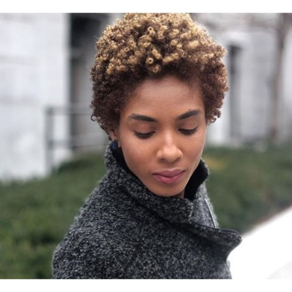 Subtle Balayage for Natural Short Afro Hairstyle