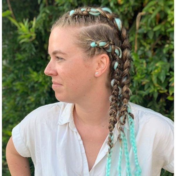 Teal Colored Braids Hairstyle for Damaged Hair
