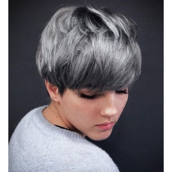 Thick Silver Steel Gray Bangs For Textured Bowl Cut