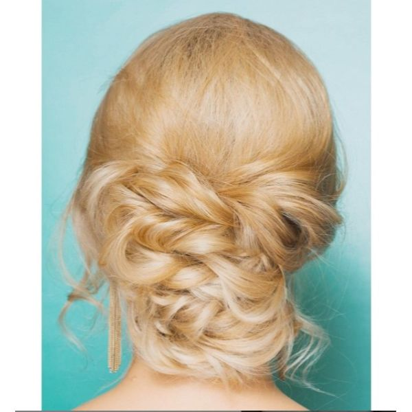 Twisted Low Bun Bridal Updo for Blonde Hair