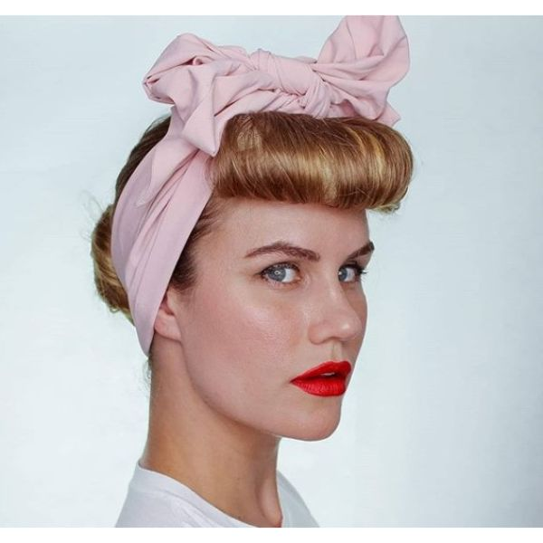 Vintage Updo for Medium Hair with Headscarf and Bumper Bangs