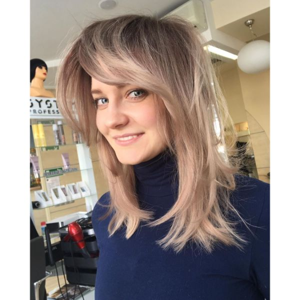 Voluminous Ashy Blonde Bangs