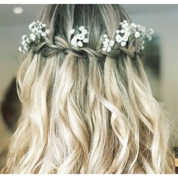 Waterfall Braid Bridal Updo with Flowers