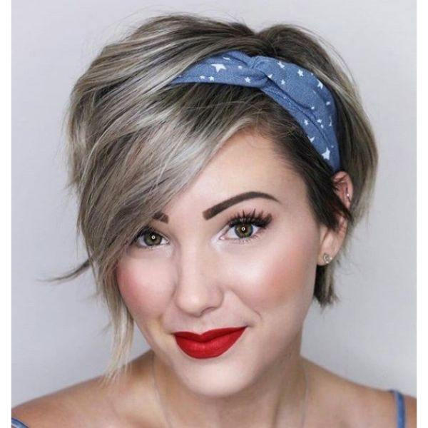 Ashy Blonde Pixie Cut with Headband