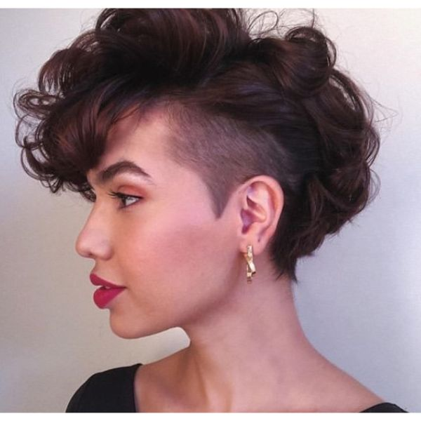 Auburn Curly Faux Hawk Undercut