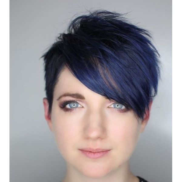 Blue Pixie with Messy Styling Short Haircuts For Women