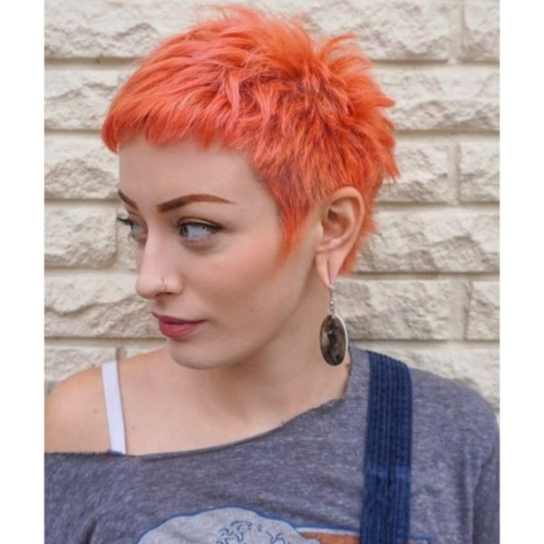 Bright Orange Spiky Pixie Short Haircuts For Women