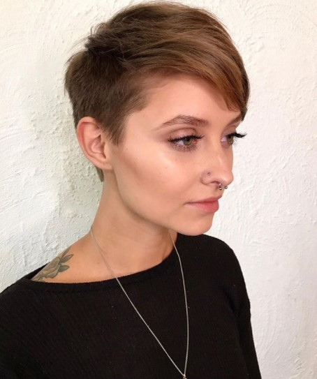 Caramel Pixie Short Haircut with Soft Side Part