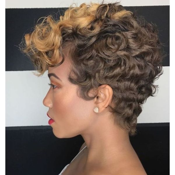 Cropped Curly Short Haircut with Soft Highlight