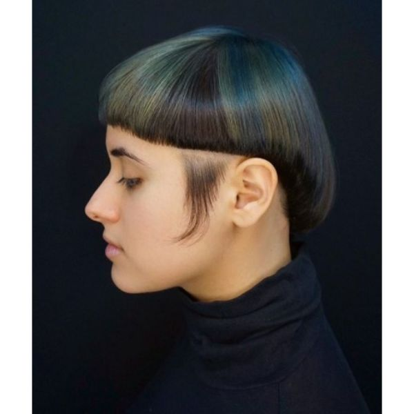 Elevated Bowl-cut with Metallic Highlights