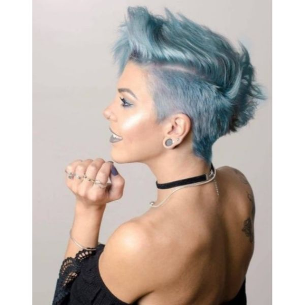 Metallic Teal Short Undercut with Spiky Top