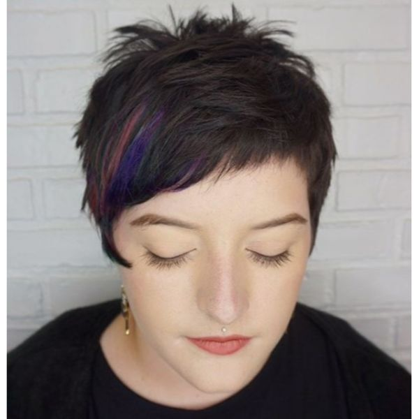 Multicolored Pixie Cut with Asymmetric Bangs