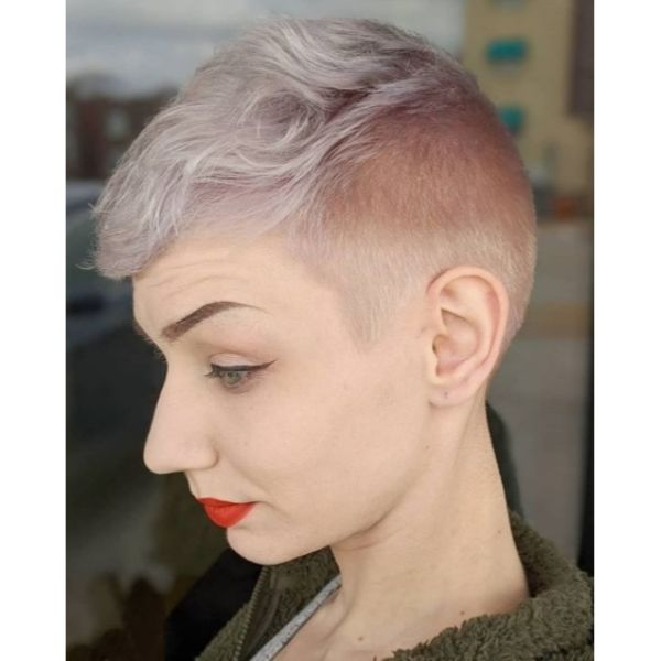 Pearly Platinum Pixie With Faded Sides