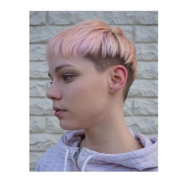 Pink Bowl-cut with Faded Sides