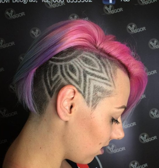 Pink-Purple Undercut with Razor Design