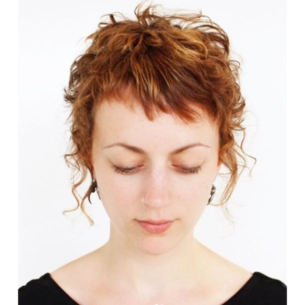 Pixie Curly Short Haircut with Rat Fringes