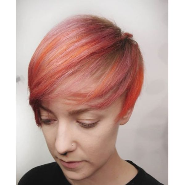Pixie Cut with Shades Of Corals