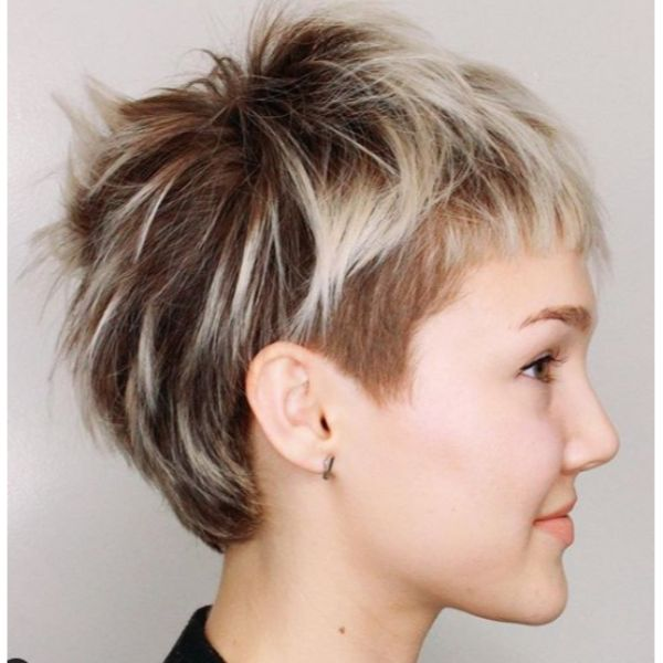 Platinum Rooted Blonde Pixie with Baby Bangs