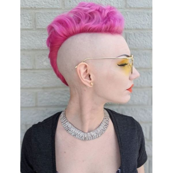 Razor Shaved with Bubblegum Pink Mohawk