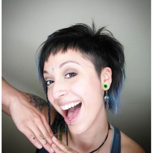 Short Asymmetric  Razor Cut with Blue Highlights