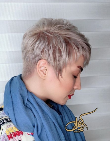Short Light Blonde Haircut with Pointy Sideburns