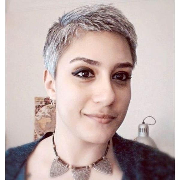 Short Pixie Cut For Silver Fox