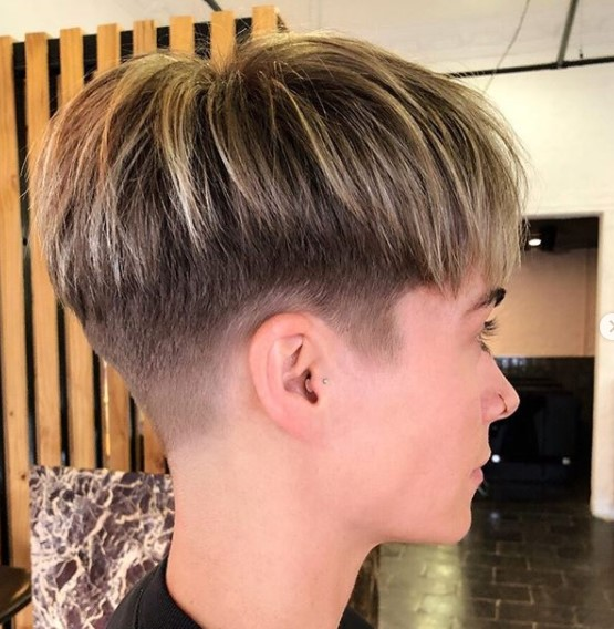 Short Pixie Cut With Light Blonde Highlights