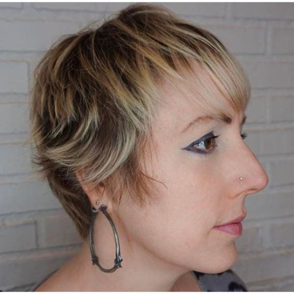 Soft Pixie Cut with Blonde Highlights