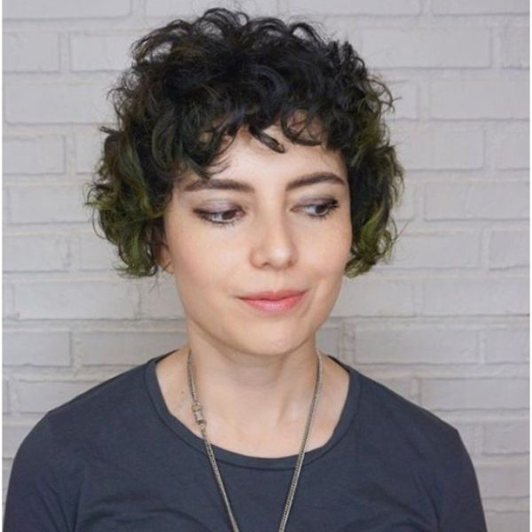 Textured Bob Razor Cut with Mermaid Green Highlights