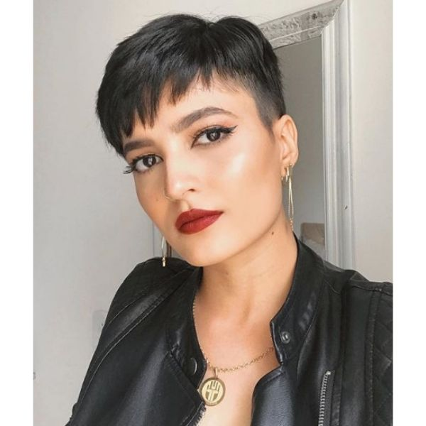 Pixie Cut with Short Shaved Side Hairstyle