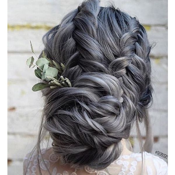 Ashy Messy Bun with Braids Hairstyle