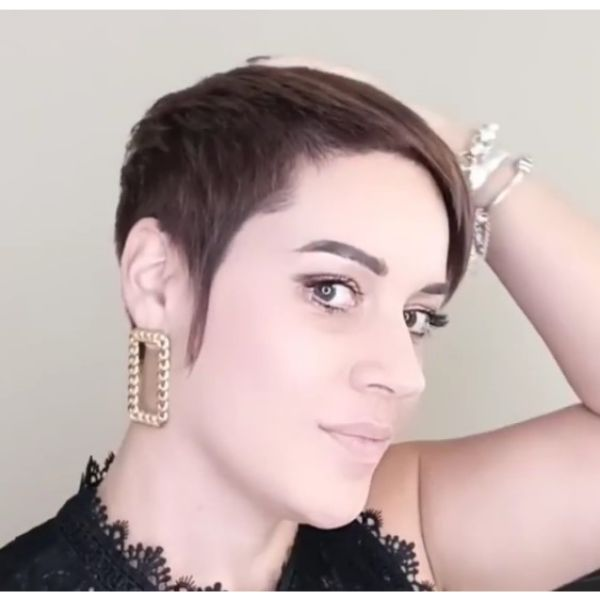 Asymmetric Short Haircut with Long Sideburns