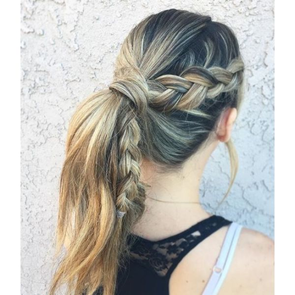 Blonde Ponytail with Dutch Braid Hairstyle