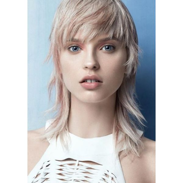 Blonde Soft Hairstyle with Pink Highlights Medium Length Hairstyles