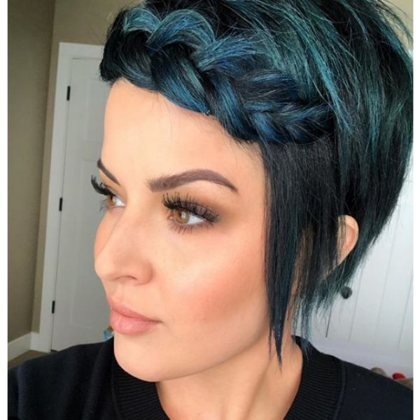 Blue Green Dutch Braid For Short Pixie Hairstyle