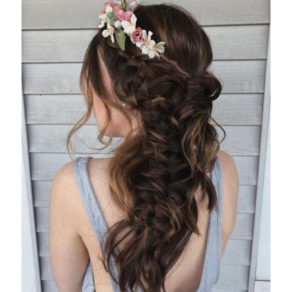 Boho Fishtail with Crown Flower Hairstyle