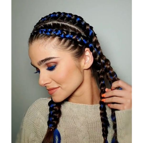 Braided Cornrows with Blue Strands Easy Hairstyle For School