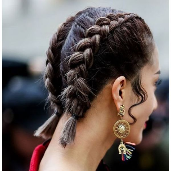 Braided Hairstyle with Curly Sideburns Medium Length Hairstyles