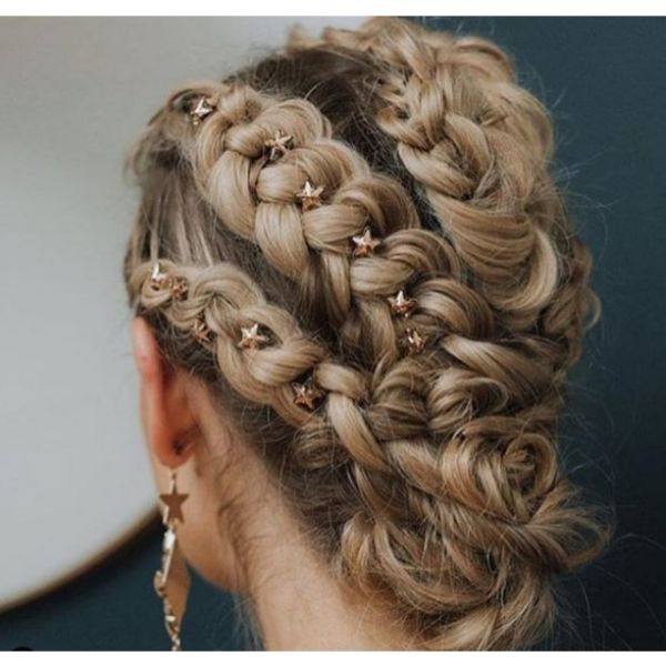 Braided Hairstyle with Small Stars Bridal Hairstyles