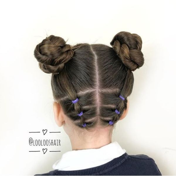 Braided Space Buns Easy Hairstyle for School