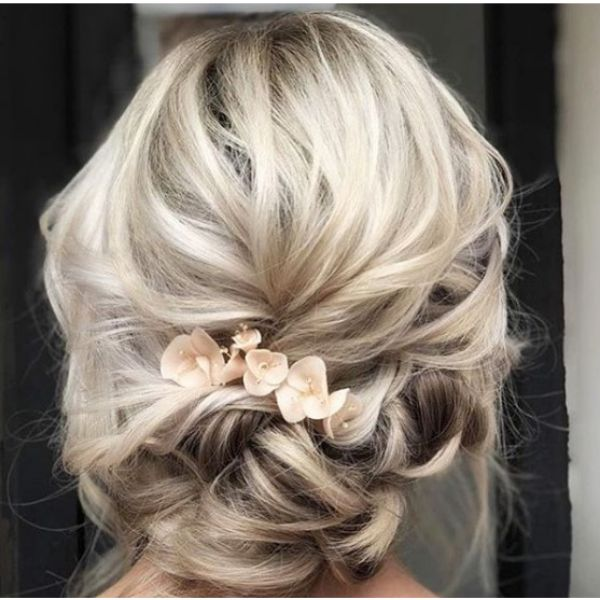 Bridal Updo with Messy Strands Hairstyle